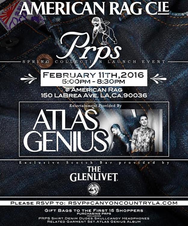 Drink Glenlivet + Watch Atlas Genius Perform At PRPS x American Rag Pre Grammy Event