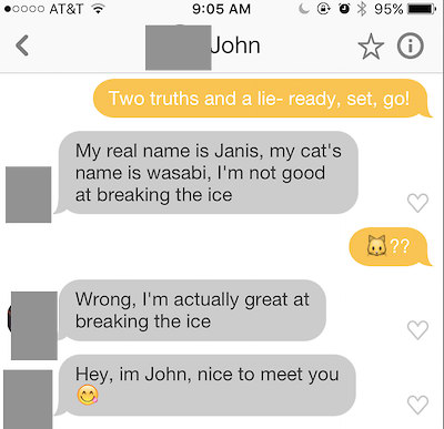 two truths and a lie tinder