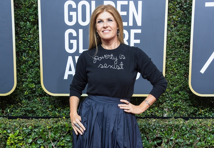 Connie Britton wears 'poverty is sexist' top at Golden Globes