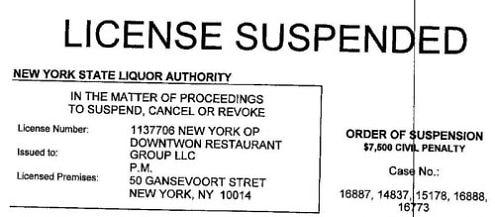PM License suspension