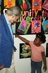 leroy nieman with girl at harlem art center