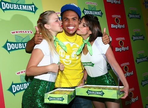 Chris Brown with Wrigley girls