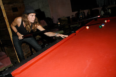 Jamie Burke goes for the corner pocket @ Rose Bar