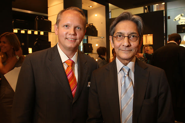 Montblanc North America's Jon Patrick Schmidt and CEO of The Nelson Mandela Foundation Achmat Dangor attend the Nelson Mandela Foundation