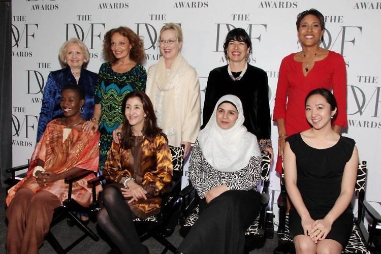 Melanne Verveer, Danielle Saint-Lot, Diane von Furstenberg, Ingrid Betancourt, Meryl Streep, Sadiqa Basiri Saleem, Christiane Amanpour, Robin Roberts and Katherine Chon