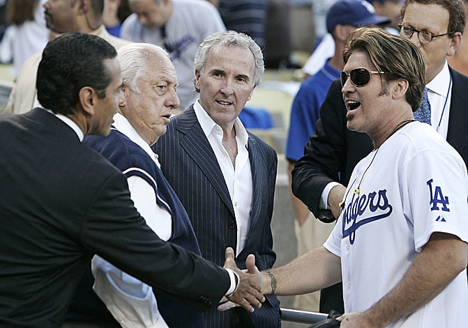 Antonio Villaraigosa,Tommy Lasorda, Frank McCourt, Billy Ray Cyrus