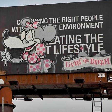 banksy billboard sunset