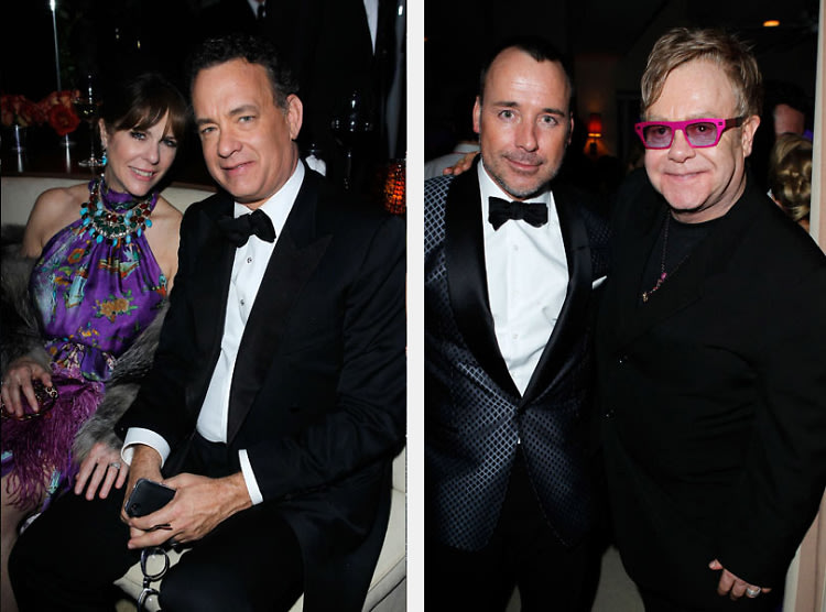 Rita Wilson, Tom Hanks, David Furnish, Elton John