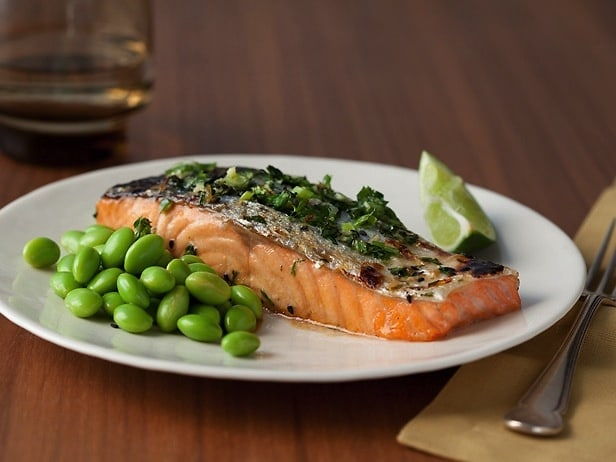 Honey-Soy Grilled Salmon With Edamame