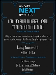 Unicef's Next Generation Emergency Releif Fundraiser-Cocktail