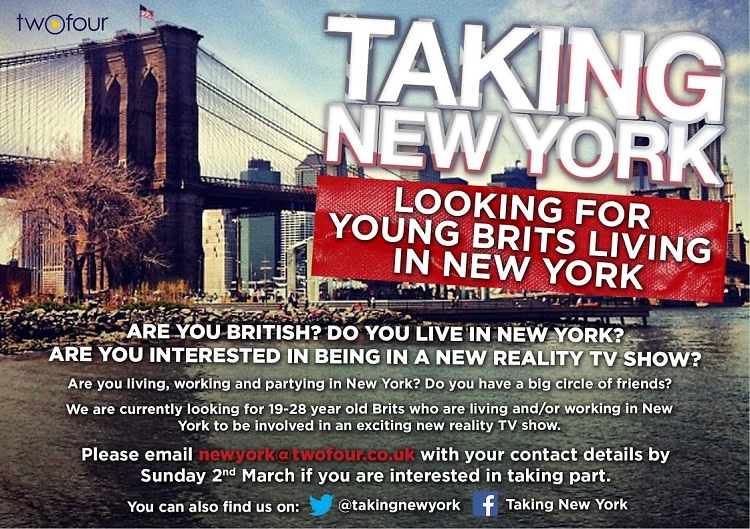 You're Invited: Taking New York, Looking for Young Brits Living In New York City