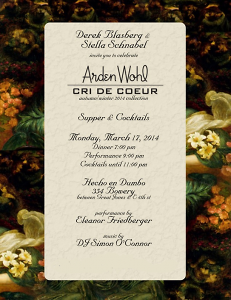 Dinner to Celebrate Arden Wohl's Cri De Couer