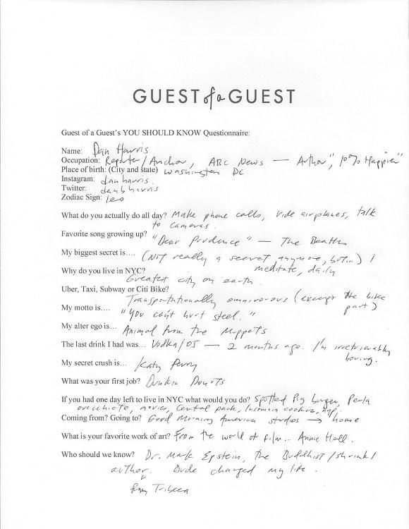 Dan Harris Questionnaire
