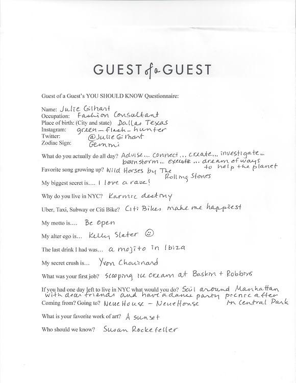 Julie Gilhart Questionnaire