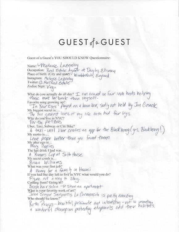Melanie Lazenby Questionnaire