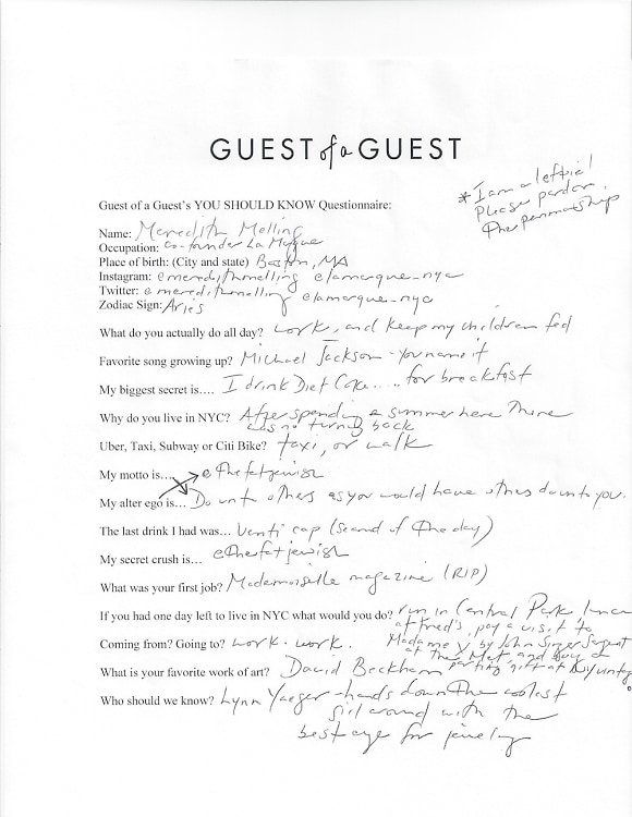 Meredith Melling Questionnaire