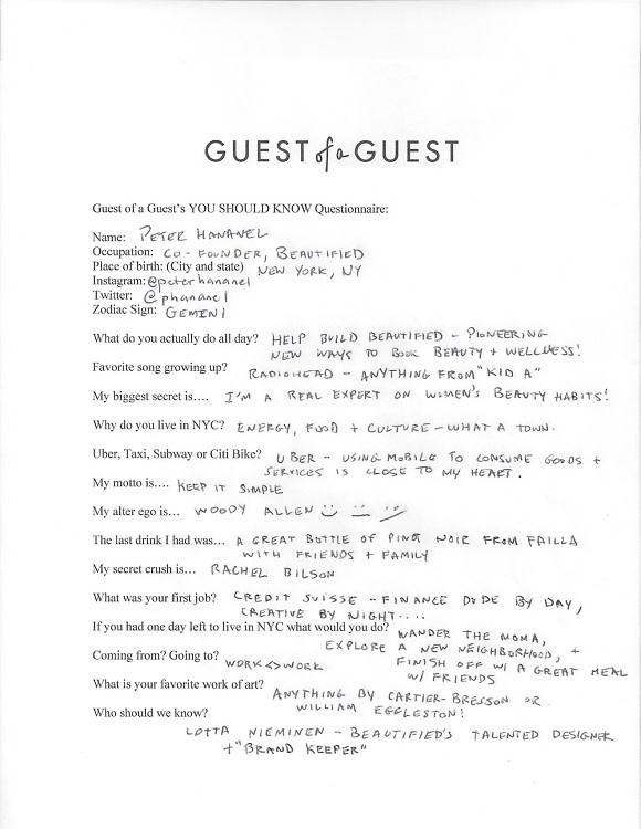 Peter Hananel Questionnaire