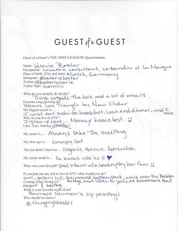 Valerie Boster Questionnaire