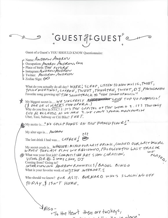 Andrew Andrew Questionnaire