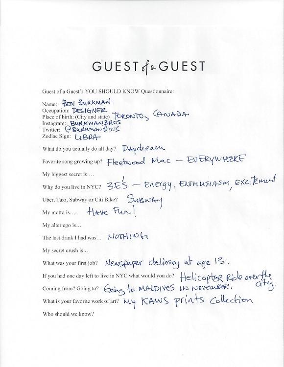 Ben Burkman Questionnaire