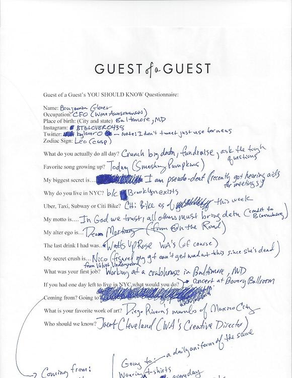 Benjamin Glover Questionnaire