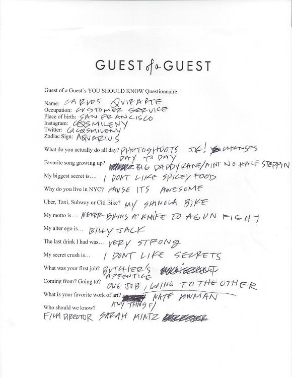 Carlos Quirarte Questionnaire