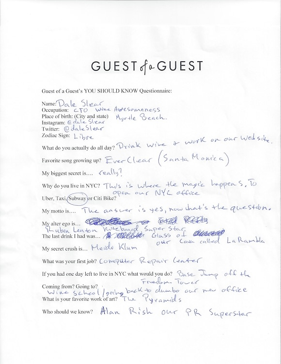 Dale Slear questionnaire