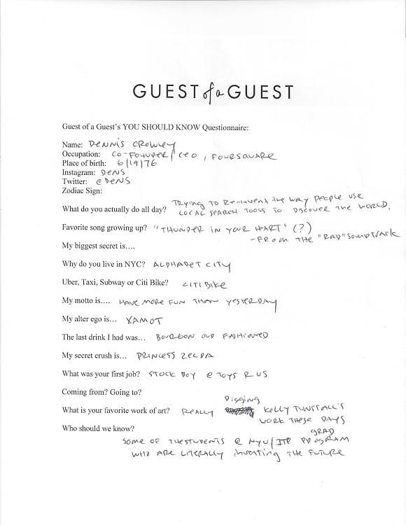 Dennis Crowley Questionnaire