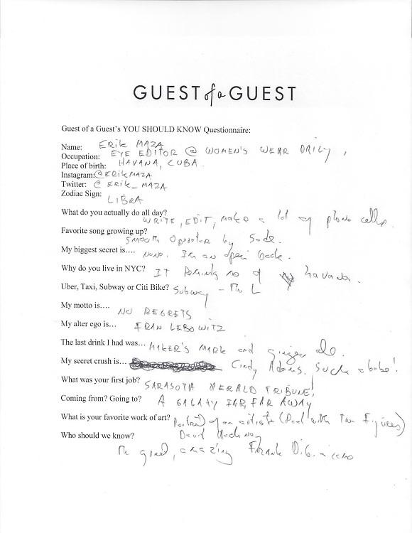 Erik Maza Questionnaire