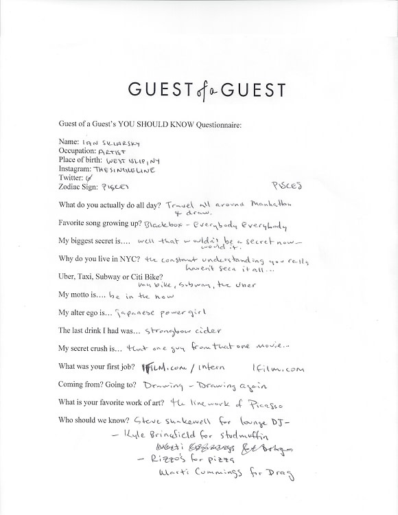 Ian Sklarsky Questionnaire