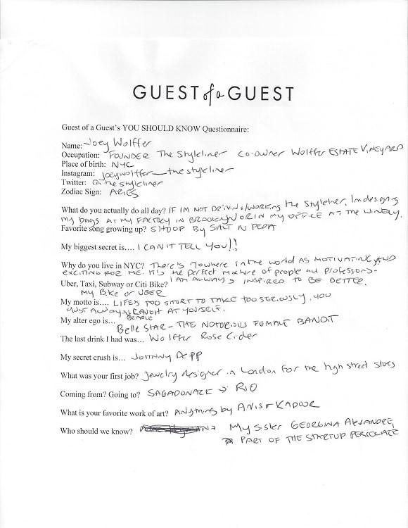 Joey Wolffer Questionnaire