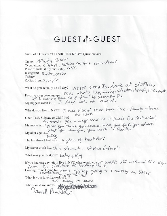 Masha Orlov Questionnaire