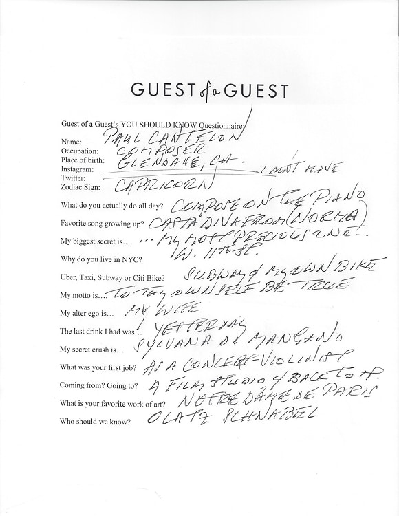 Paul Cantelon Questionnaire