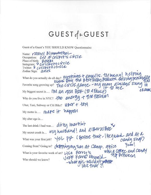 Rachel Blumenthal Questionnaire