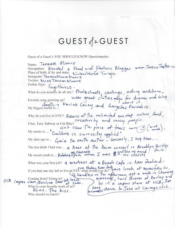 Teresa Moore Questionnaire