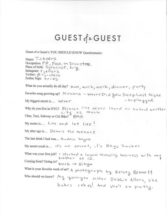 TJ Allers Questionnaire