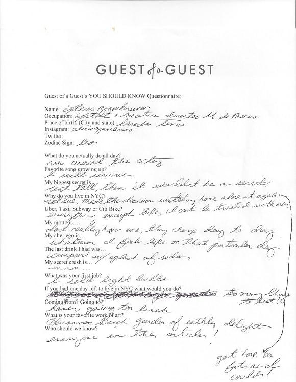 Alexis Zambrano Questionnaire