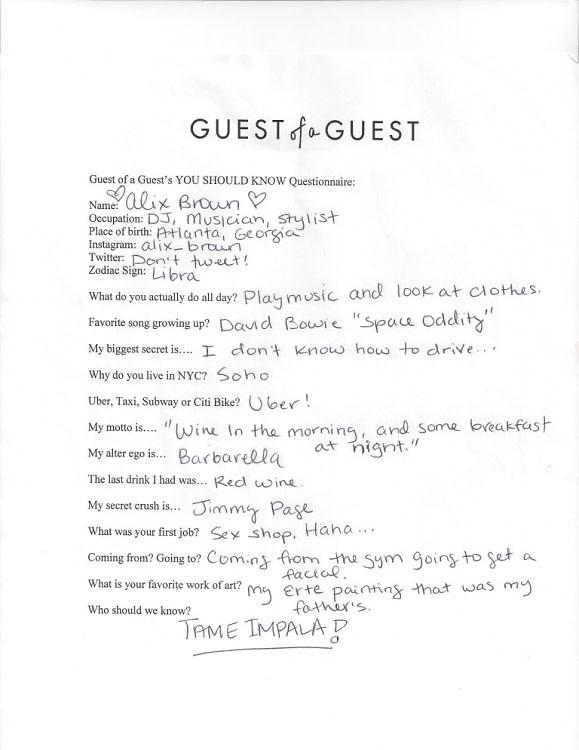 Alix Brown Questionnaire