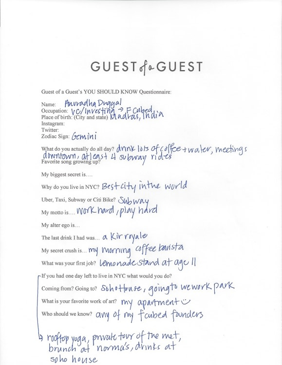 Anu Duggal Questionnaire