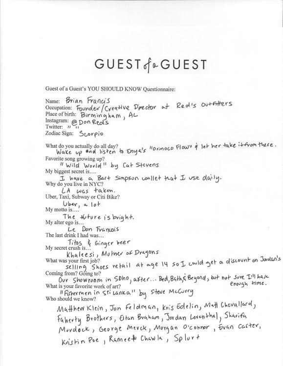 Brian Francis Questionnaire