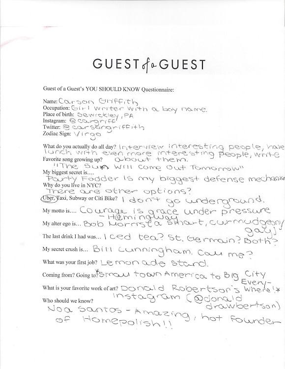 Carson Griffith Questionnaire