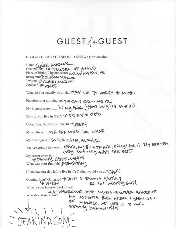 Claire Mazur Questionnaire
