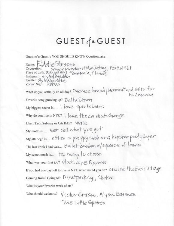 Eddie Parsons Questionnaire