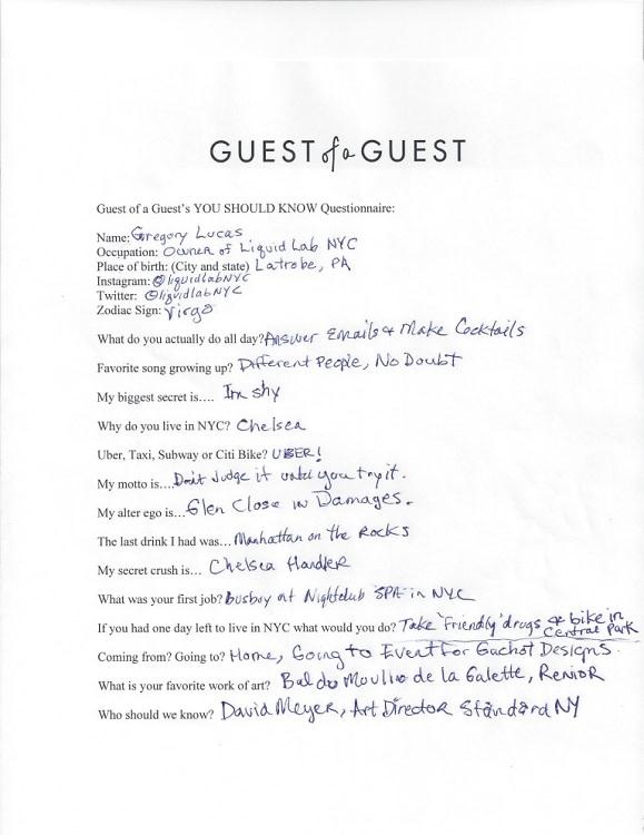 Gregory Lucas Questionnaire