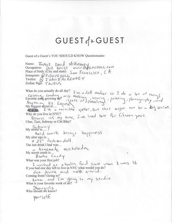 Joshua David McKenney Questionnaire