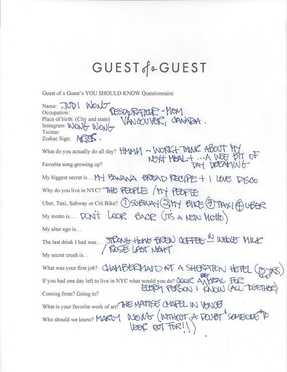 Judi Wong Questionnaire