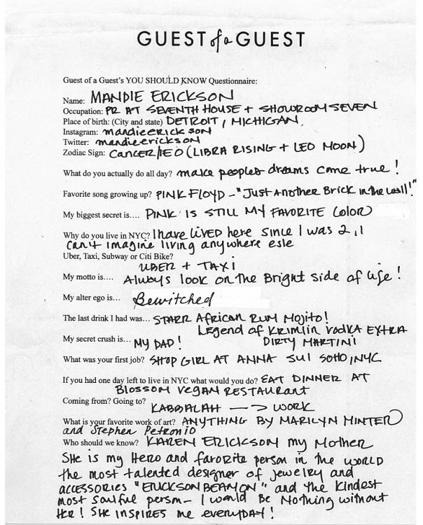 Mandie Erickson Questionnaire