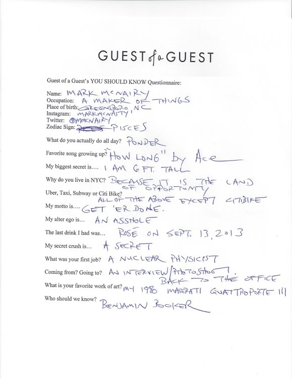 Mark McNairy Questionnaire