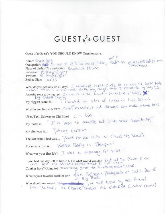 Noah Levy Questionnaire