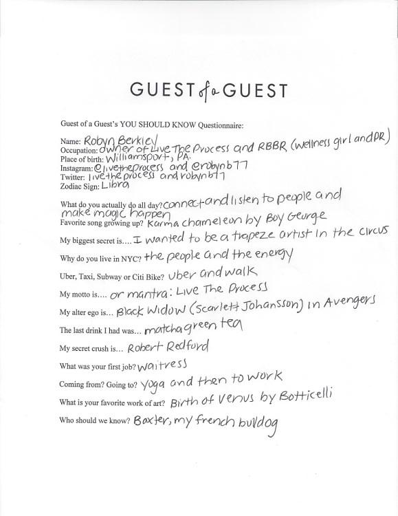 Robyn Berkley Questionnaire
